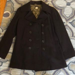 Classic JCrew navy wool pea coat
